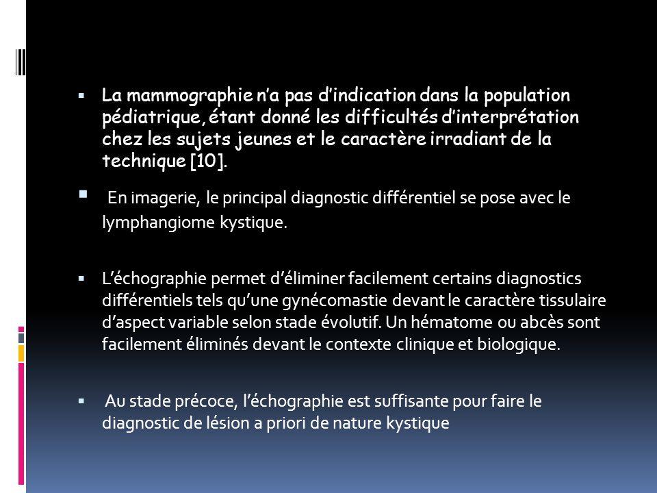 La mammographie n'a pas d'indication dans la population pédiatrique, étant donné les difficultés d'interprétation chez les sujets jeunes et le caractère irradiant de la technique [10].